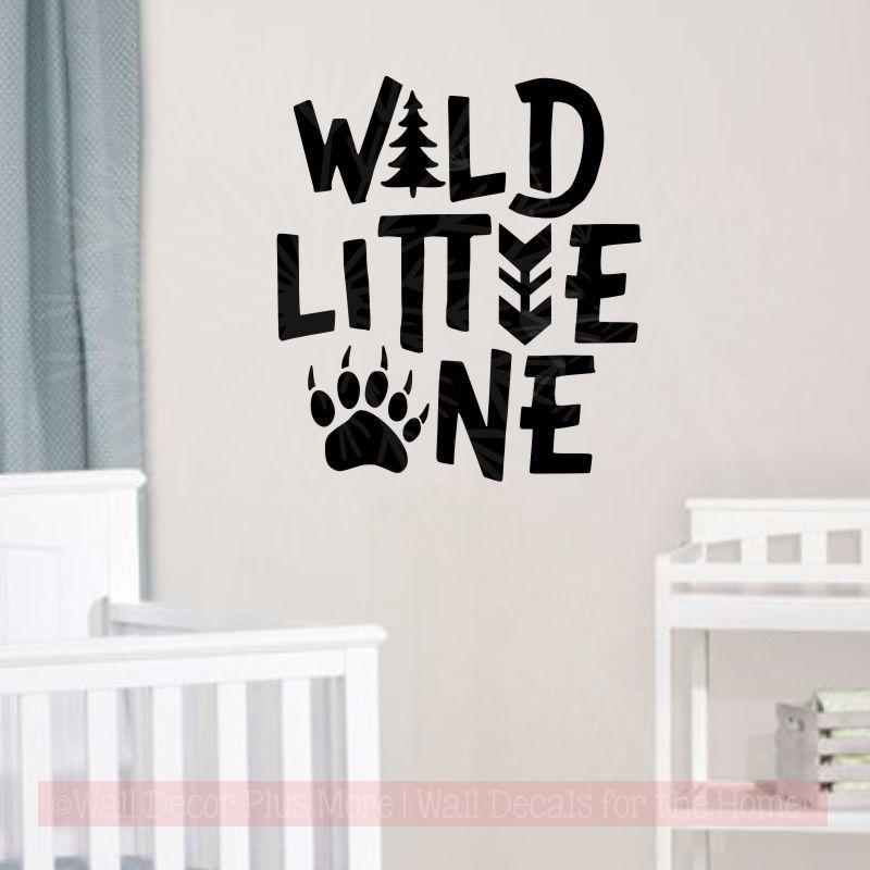 Wild Little One Boy Nursery Decor Animal Print Vinyl Art Wall