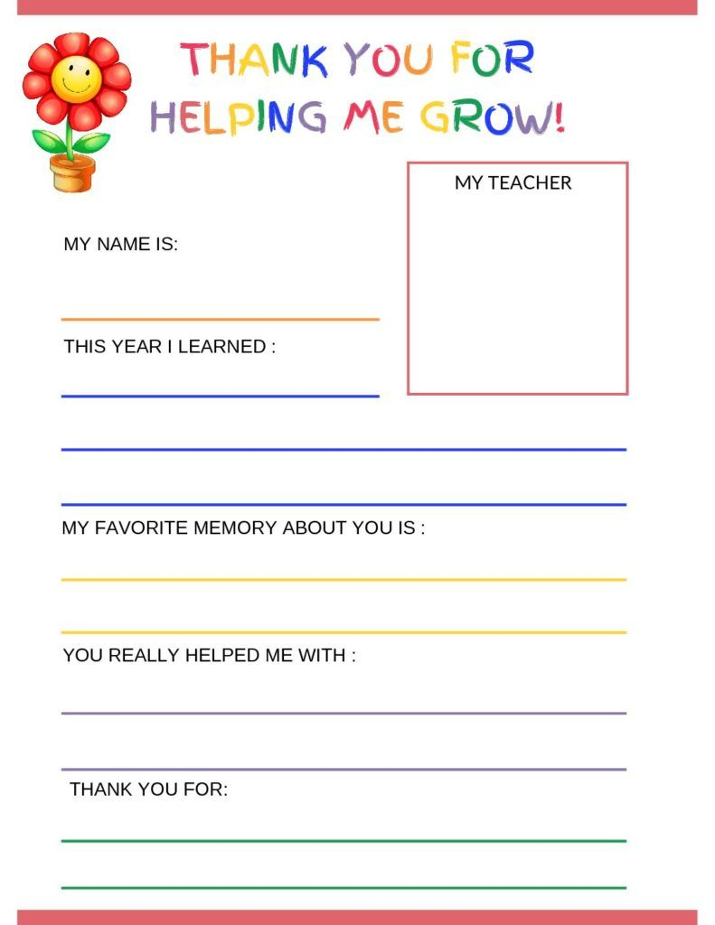 Thank You Letter To Teacher From Student Free Printable Template Life With A Side Of The Unexpected Teacher Cards Letter To Teacher Teacher Thank You Notes