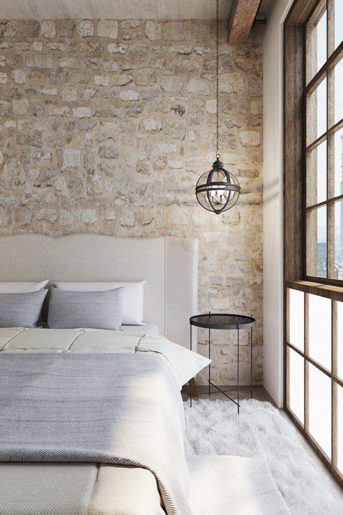 Wohnideen Schlafzimmer Landhausstil Weißer Teppich Steinwand Hängeleuchte