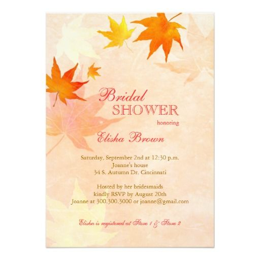ReviewBeautiful Maple Leaf Fall Bridal Shower Invitationyou will get best price offer lowest prices or diccount coupone