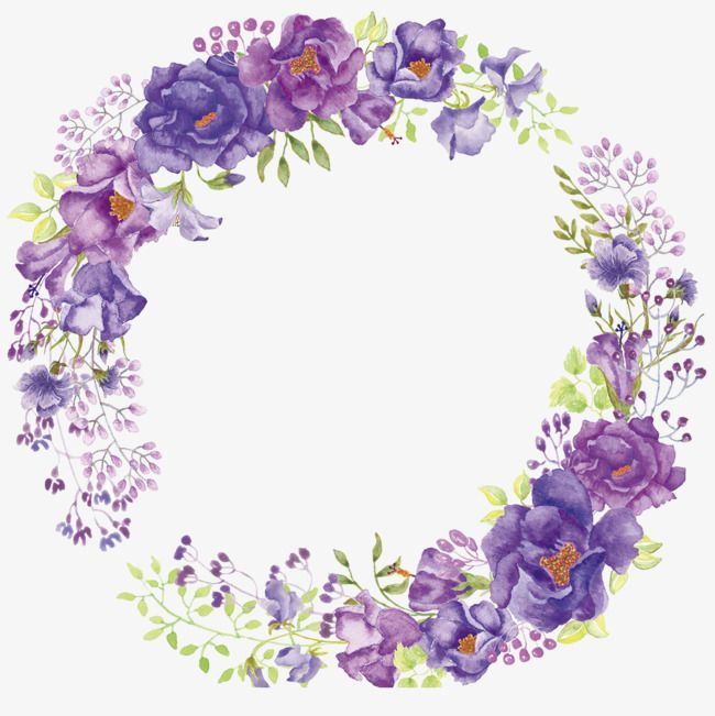 Flower Wreath Flower Clipart Purple Flowers Png Transparent