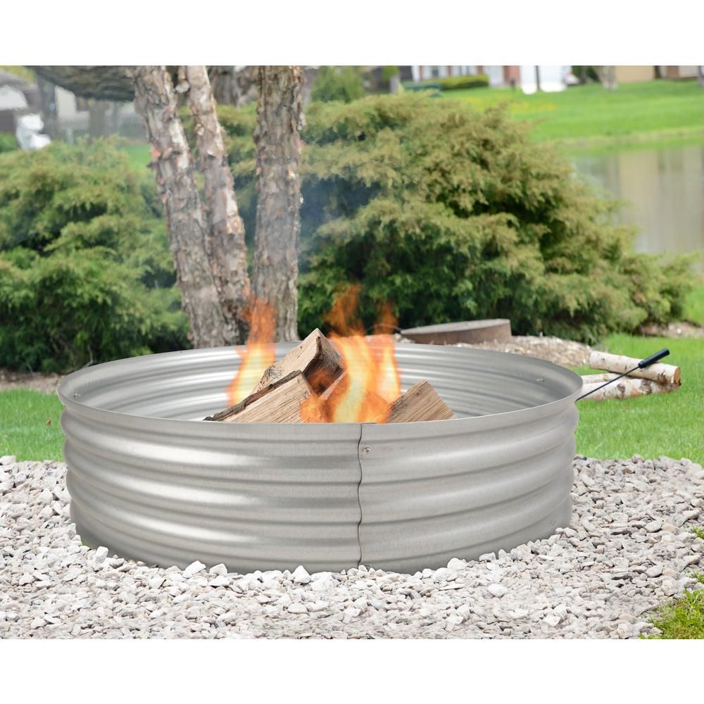 Pleasant Hearth Infinity 36 In X 13 In Round Galvanized Steel Wood Fire Ring Ofw815fr The Home Depot In 2020 Fire Ring Fire Pit Ring Wood Burning Fire Pit