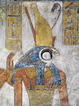 Stock Photo #1788-10706, Egypt, Thebes, Luxor, Valley of the Kings, Tomb of Tausert, mural painting of Horus, from twentieth dynasty