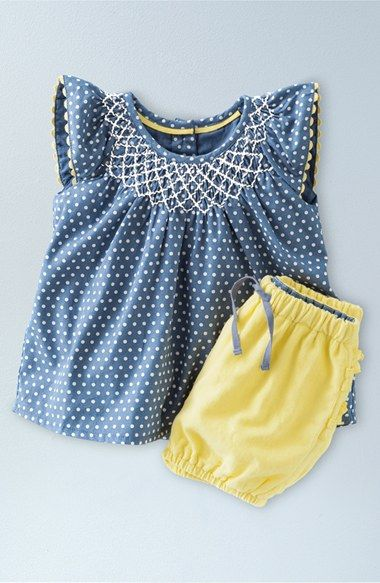 Mini Boden 'Pretty' Print Flutter Sleeve Top & Bubble Shorts Set (Baby Girls & Toddler Girls) available at #Nordstrom