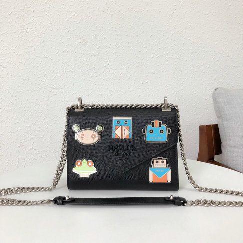 02a784507dd6 2018 Prada Monochrome Logo Shoulder Bag in Black Saffiano Leather ...