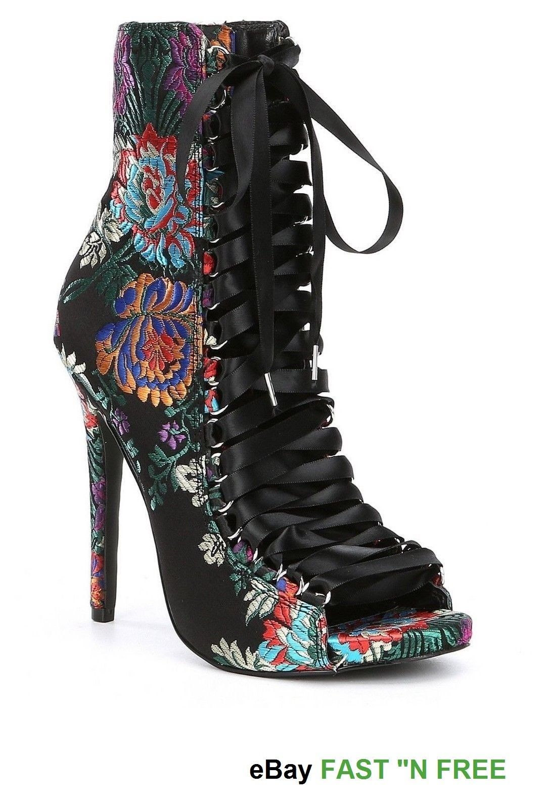 cb62fd1c6b80 Steve Madden Fuego Lace up Peep Toe Booties Black Multi Red Floral Brocade  NWT