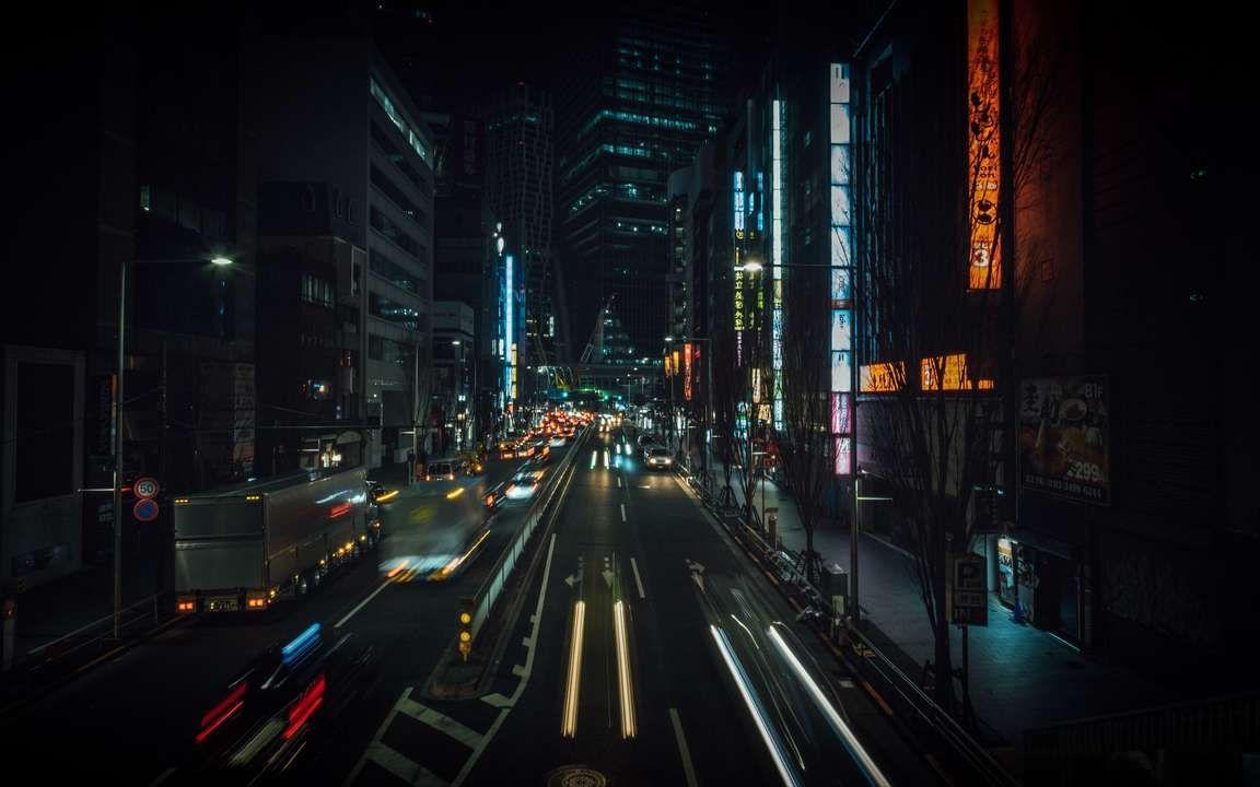 Download Wallpaper 3840x2400 Night City Street City Lights