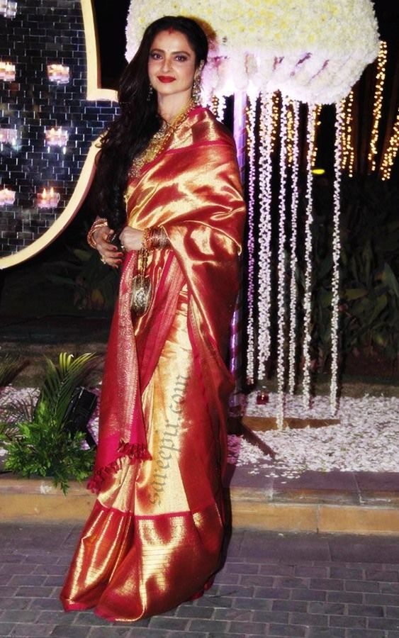d9164ec4ad7fbd Bollywood ageless beauty Rekha in Kanjeevaram silk saree at Manish  malhotra's niece Riddhi malhotra-Tejas talwalkar wedding reception in  Mumbai. It was a r