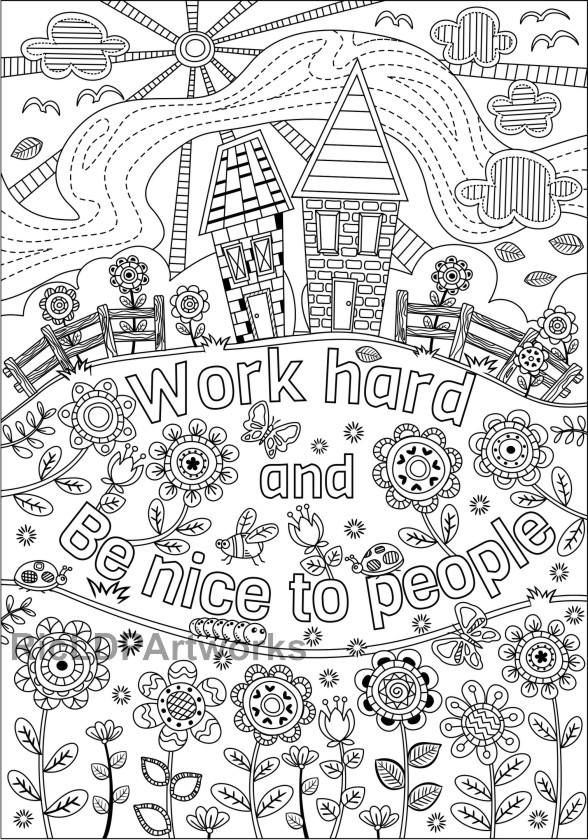 Two Coloring Pages For Kids Or Grown Ups Work Hard Be Nice Etsy In 2021 Coloring Pages For Kids Coloring Pages Quote Coloring Pages