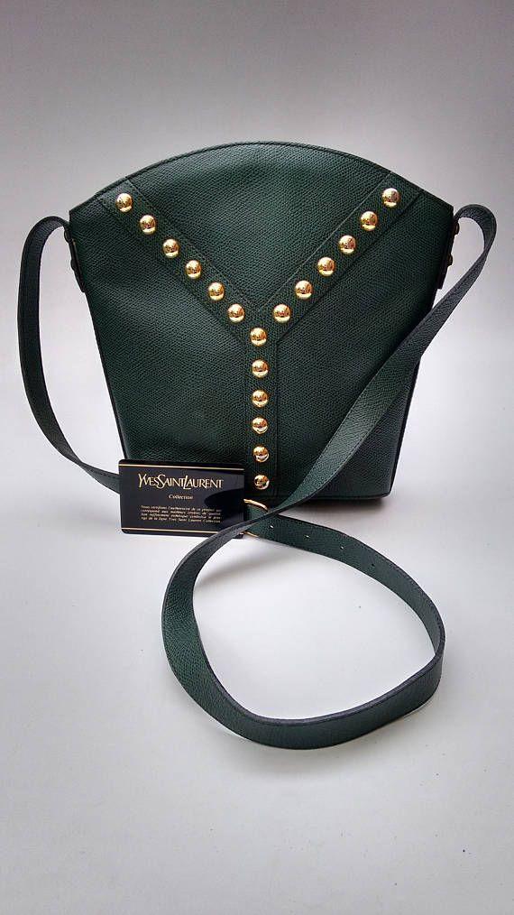 YSL Yves Saint Laurent Vintage Green Leather Shoulder Bag .  8562dccf8965a