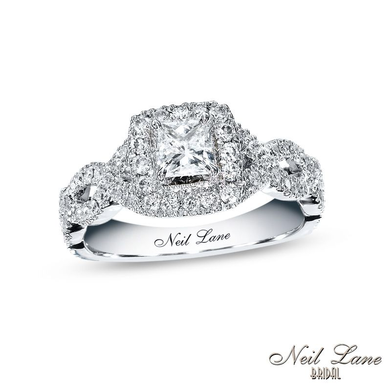 Neil Lane Bridal® Collection 1 CT. T.W. Princess Cut Diamond Twist Shank Engagement  Ring In 14K White Gold