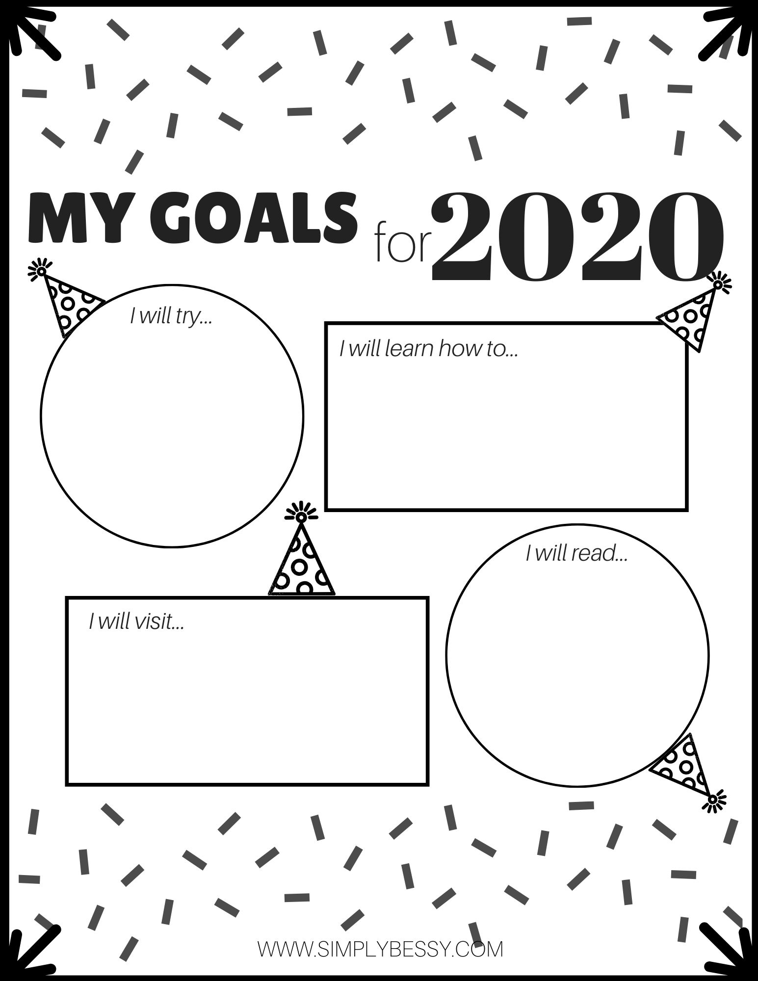 New Year Goal Setting For Kids With Free Printable In