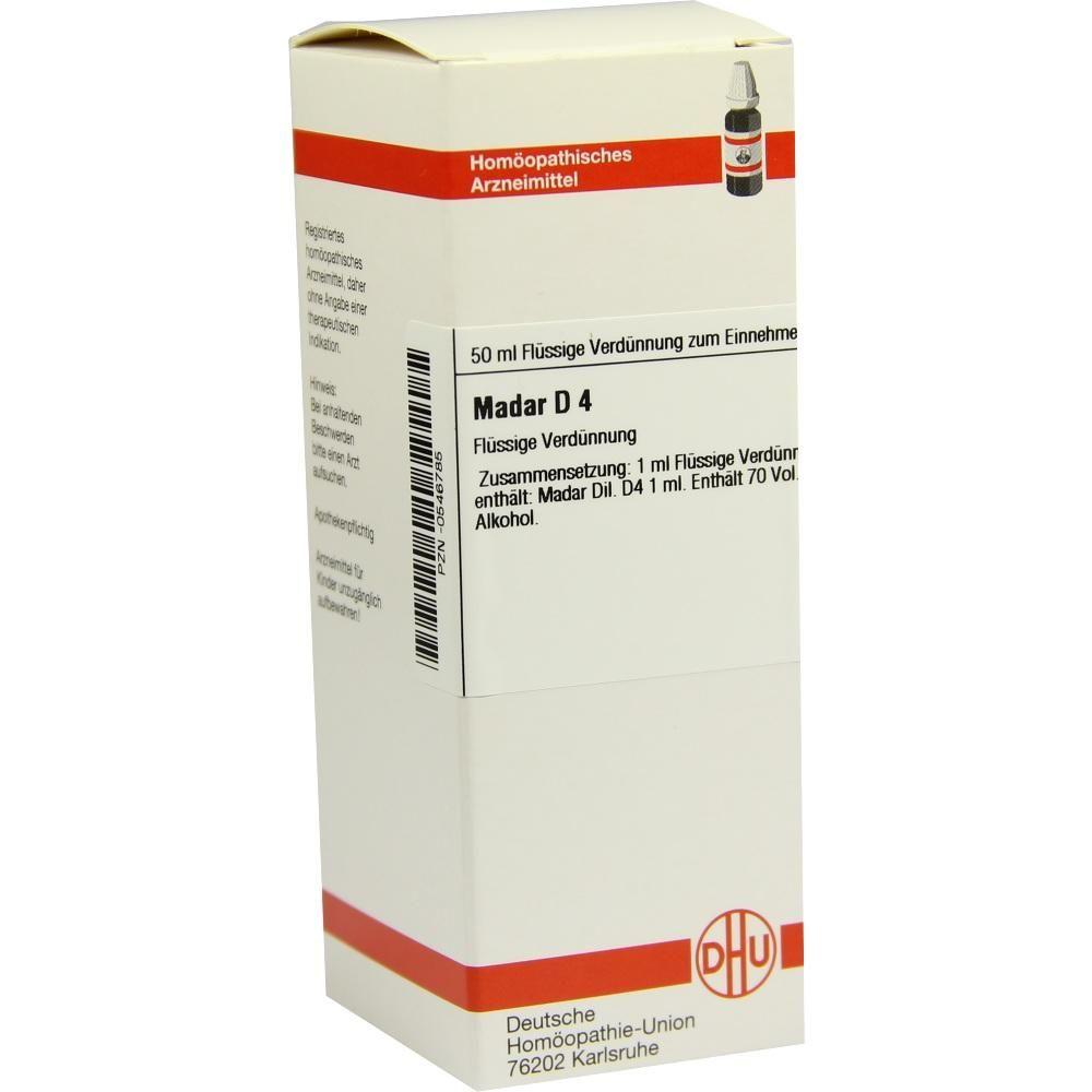 MADAR D 4 Dilution:   Packungsinhalt: 50 ml Dilution PZN: 00546785 Hersteller: DHU-Arzneimittel GmbH & Co. KG Preis: 10,19 EUR inkl. 19 %…
