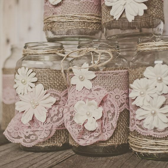 Burlap Ideas For Wedding: Pink Lace And Burlap Wedding Centerpieces. By