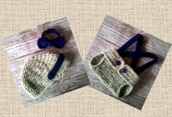 Newsboy Cap, Bow Tie and Diaper Cover with Suspenders. Oatmeal/Navy color. NB size.