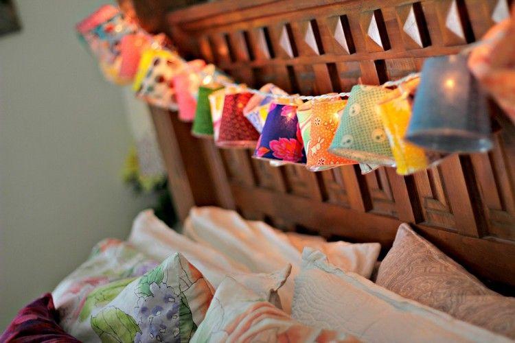 Lichterkette basteln kinderzimmer stoff becher farbenfroh bett diy und selbermachen - Lichterkette kinderzimmer ...