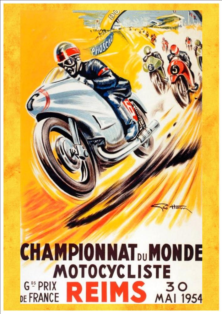 Championnat Monde Moto Reims 1954 Art Print Taken From A Vintage Motorcycle Advertisement In 2021 Vintage Motorcycle Posters Racing Posters Race Poster