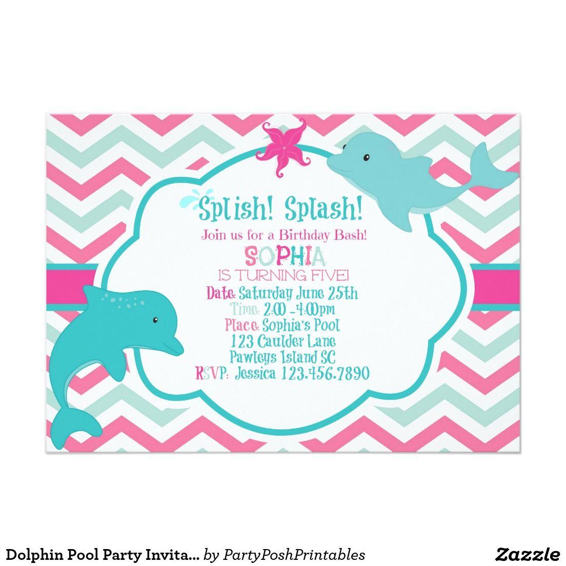 Dolphin Pool Party Invitation Pink Aqua Chevron | Birthday ideas ...