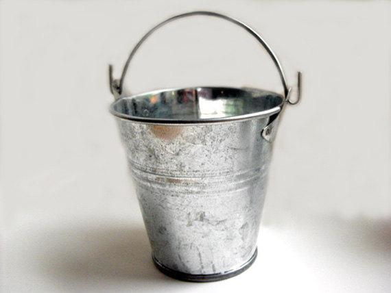 Galvanized Bucket 5 Inch Silver Metal Stainless Steel Flower Rustic W