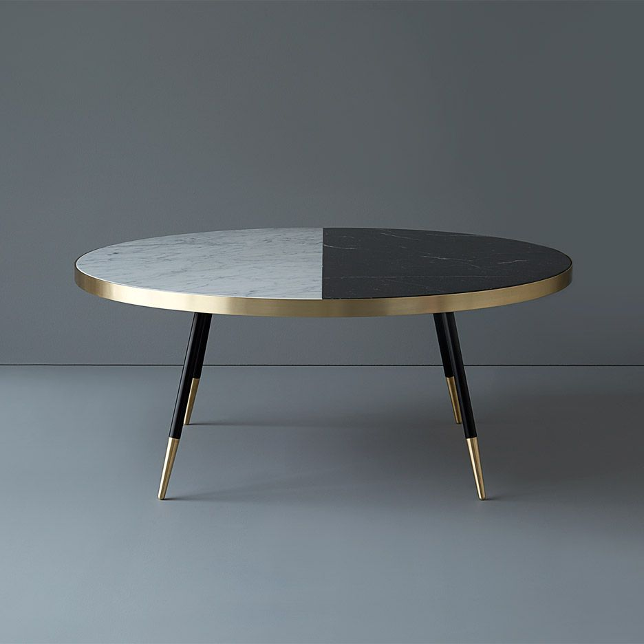 Bethan Gray 39 S Marble Band Tables Are Edged In Brushed Brass Marbles