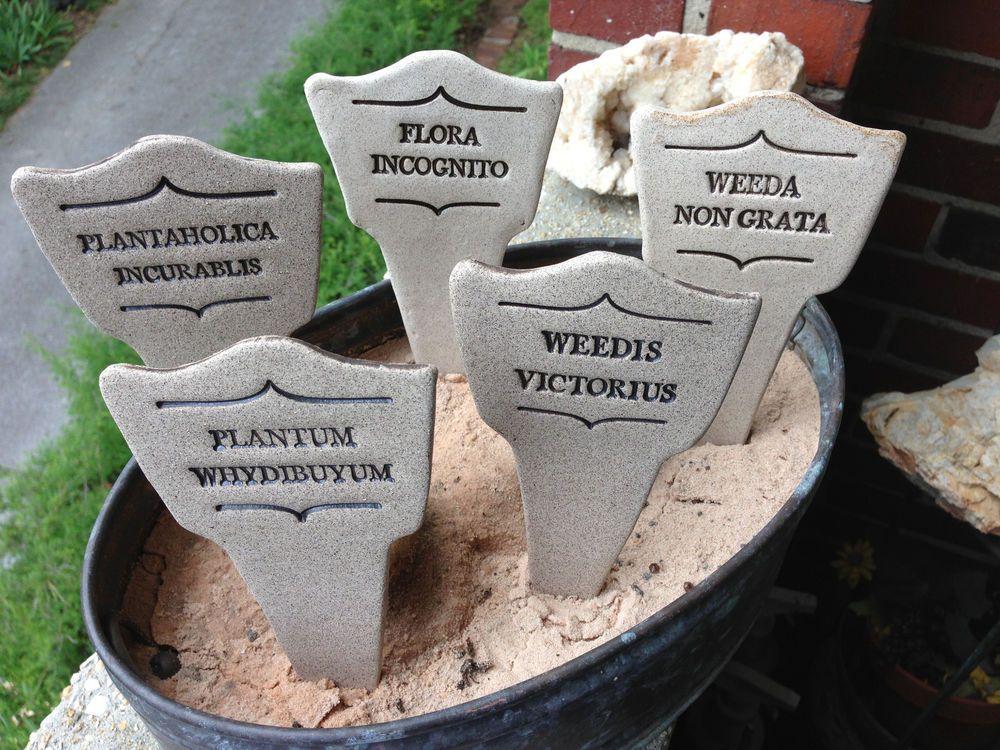 Comic Latin Ceramic Garden Marker   Fungus Amongus, Weedis Victorius,  Twiggy Mortise, Plant