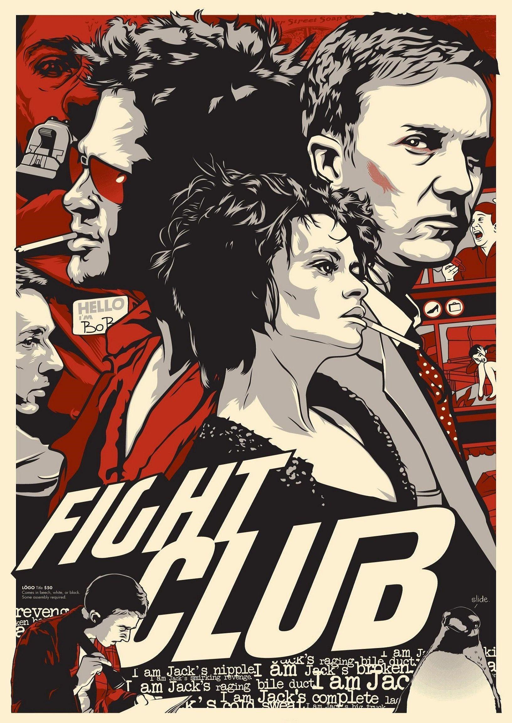 Fight Club Soap Brat Pitt Edward Norton Action Artwork Design Graphic Minimal Minimalist Alternative Poster Print Movie Film