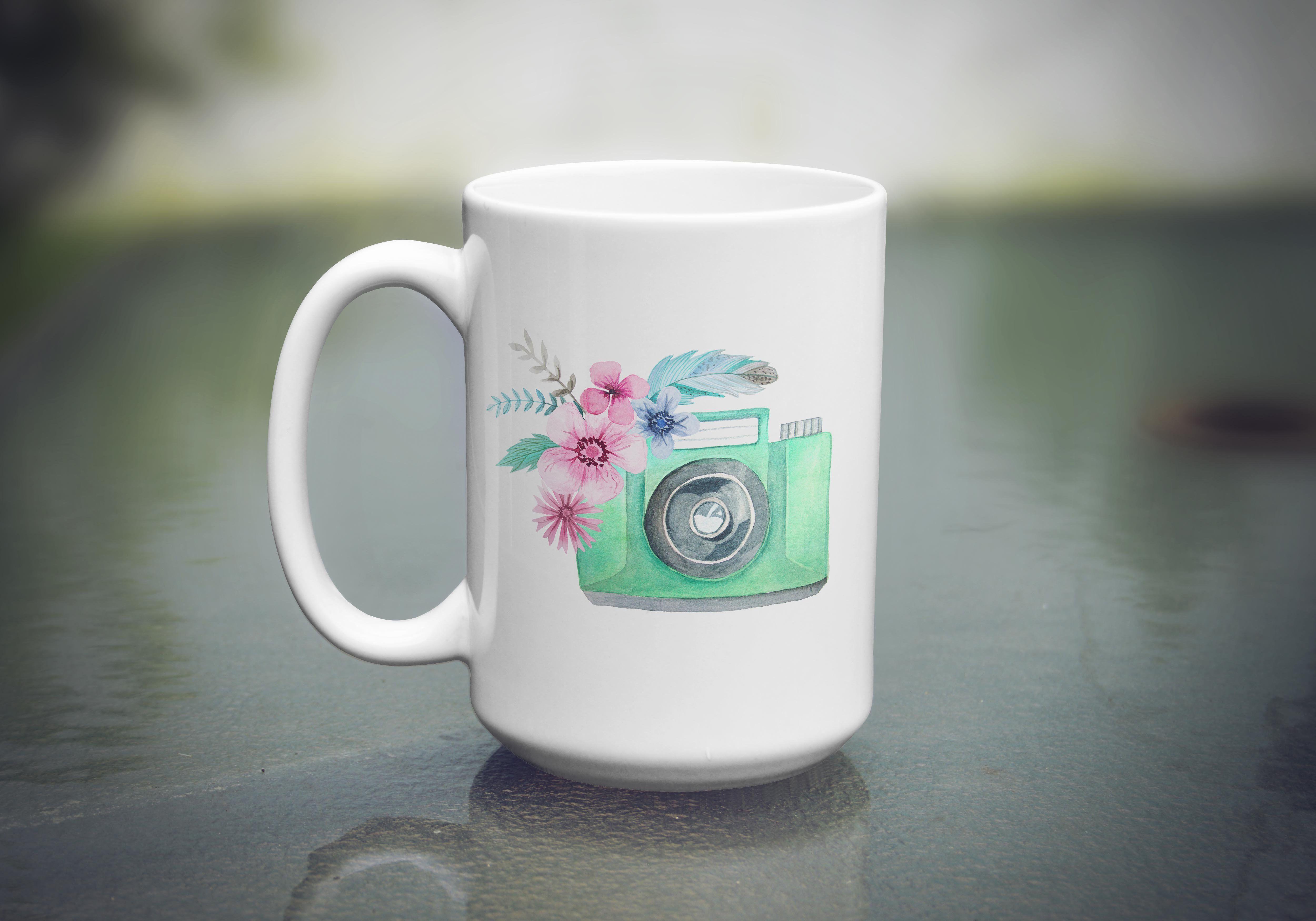 Personalized Watercolor 11 Oz Ceramic Coffee Mug Stripes Gold
