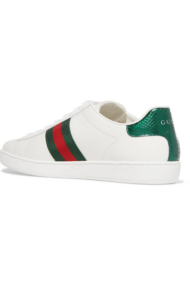 06cd3d15ede Gucci - Ace Watersnake-trimmed Embroidered Leather Sneakers - White ...