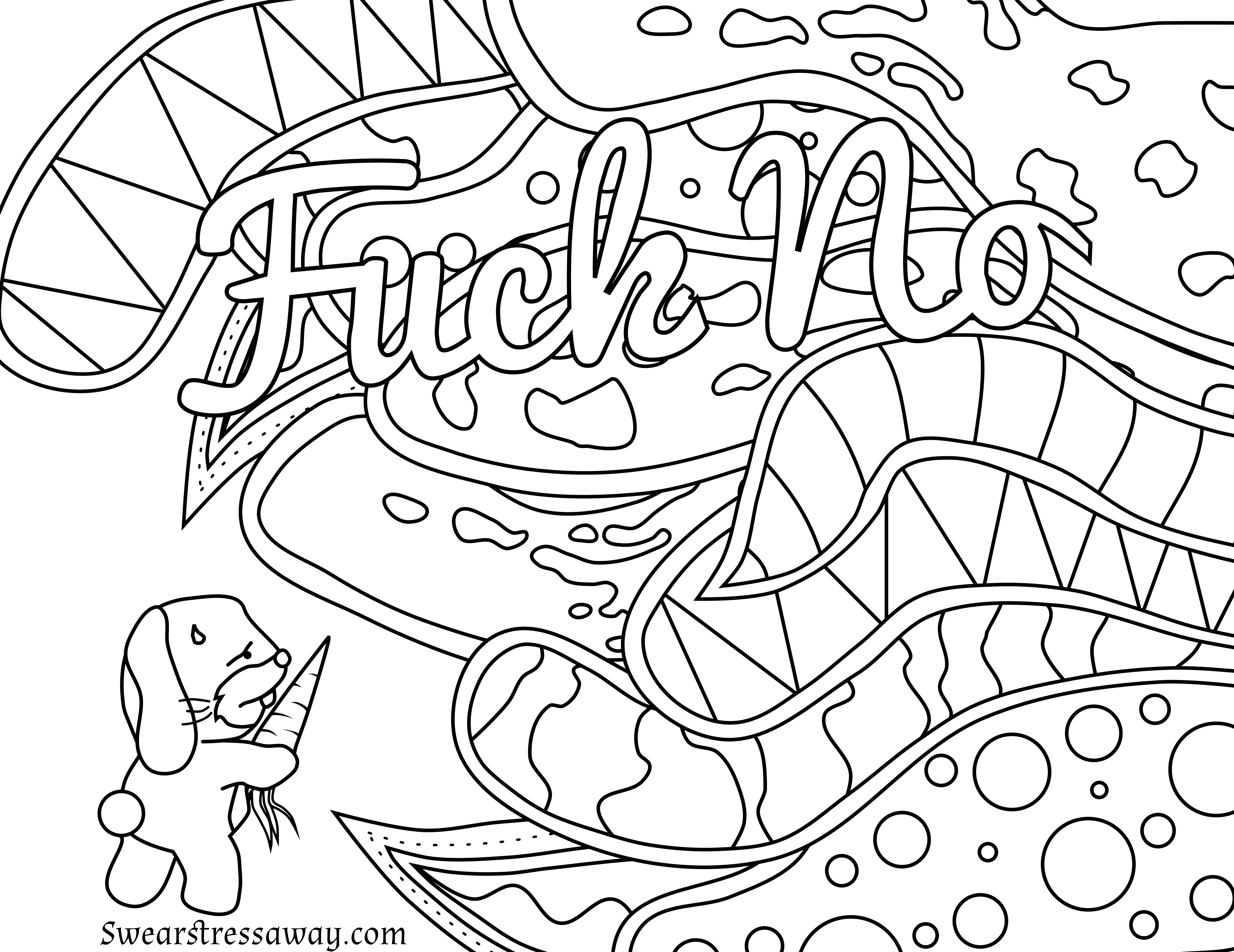 Free Printable Coloring Page Fuck No Swear Word Coloring Page