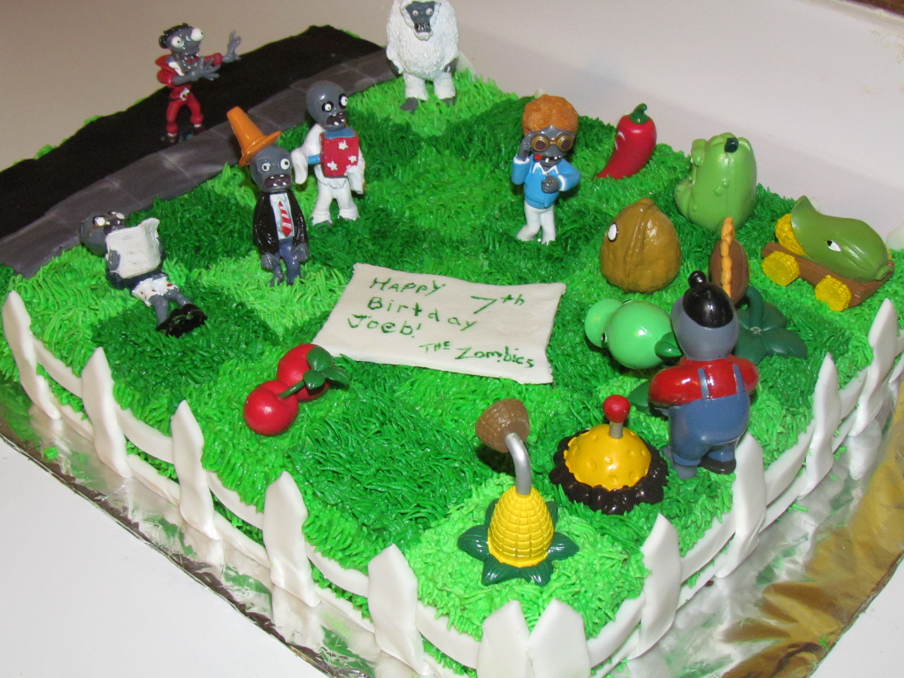 Plants vs Zombies Birthday cake I made this one for my sons 7th