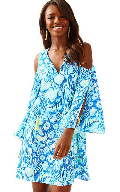 777e9cf3a625 LILLY PULITZER Benicia Open Shoulder Tunic Dress indigo sunset swim ...