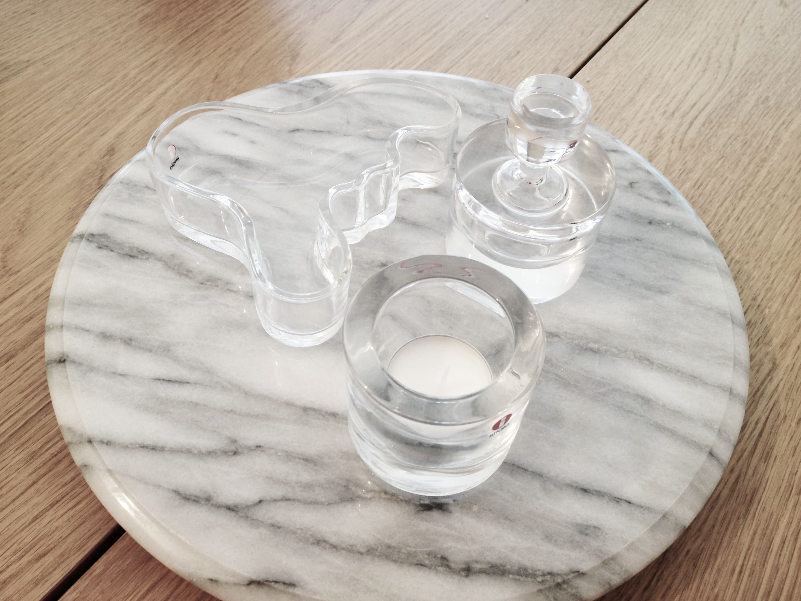 Marble Spinning Tray And Iitala Glass Art Kivi And Alvar