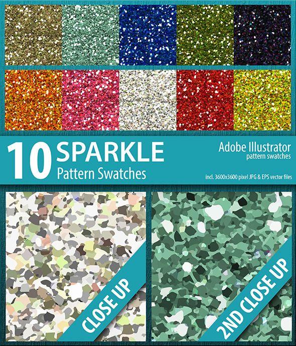 10 Sparkle Glitter Pattern Swatches Vector #design #ai