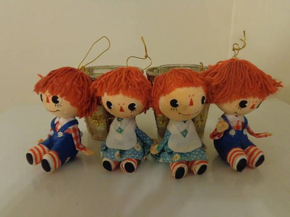 Vintage Raggedy Ann & Andy Christmas Ornaments Set Of 4 | Vintage ...