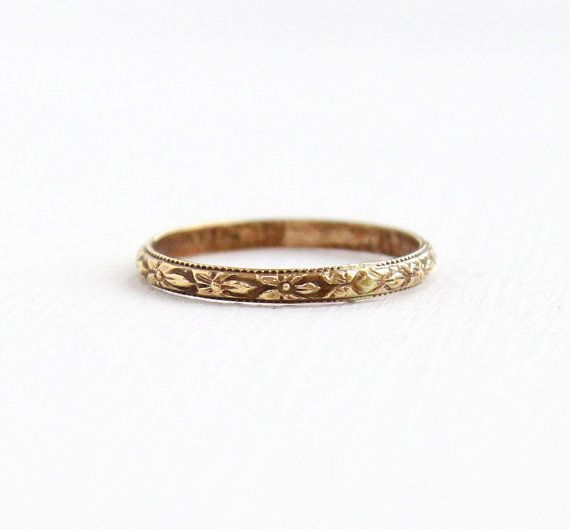 Vintage Gold Washed Baby Ring Antique 1920s Art Deco Size 2 Midi