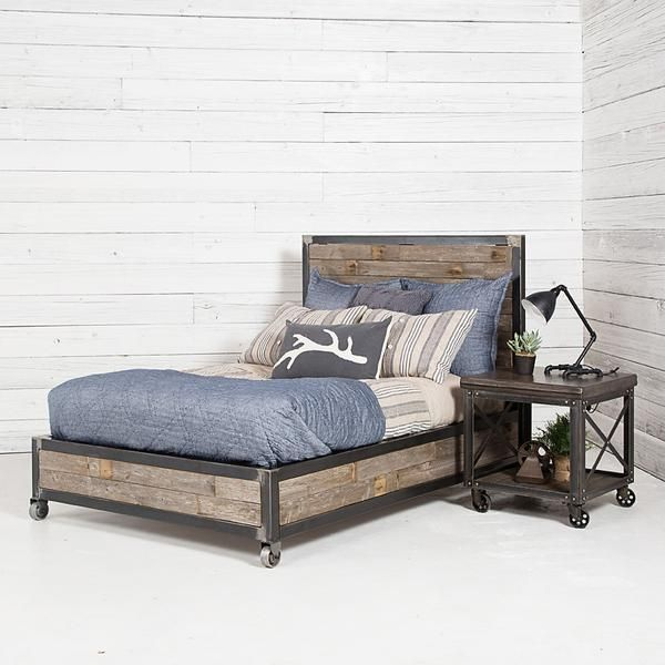 Urban Farmhouse Designs Industrial Bed Complete With Reclaimed Barn Wood Will Be The Perfect Fit For Your Home Industrial Bed Industrial Home Design Furniture