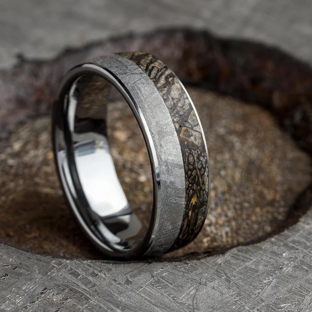 Tungsten Fossil Ring, Gibeon Meteorite Wedding Band With