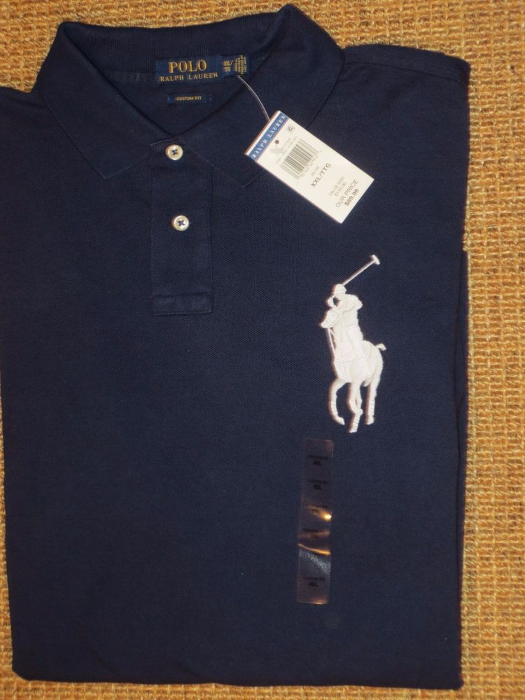 New XXL 2XL POLO RALPH LAUREN Men classic fit rugby polo shirt top 2X navy blue