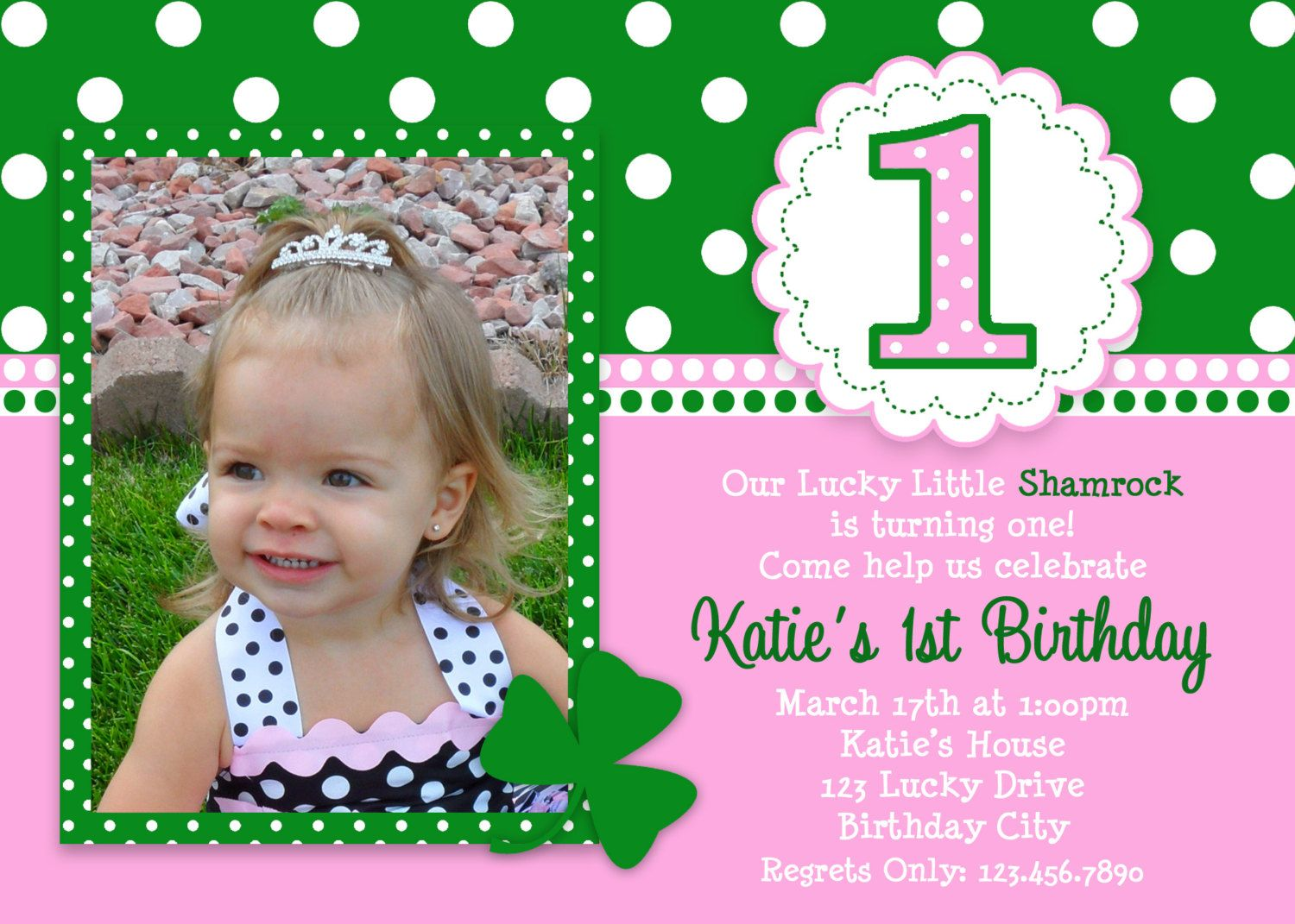 St Patricks Day Birthday Invitation 1st Birthday | St pattys ...
