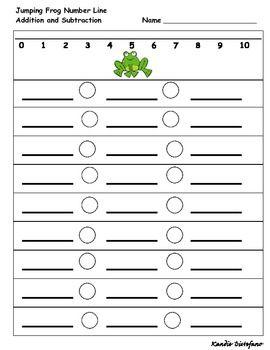 Jumping Frog Number Line Worksheet Number Line Math Printables Numbers Preschool