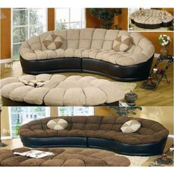 alfa importers papasan two piece sectional sofa beige brown - Cool Comfy Couches