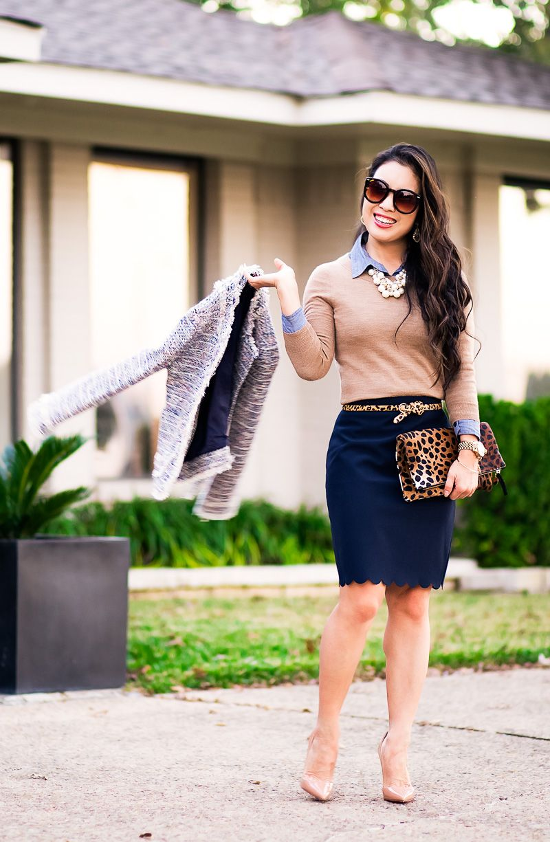 cute & little blog   petite fashion   tweed jacket, camel tippi sweater, navy scalloped skirt, louboutin nude patent so kate pumps   fall work outfit