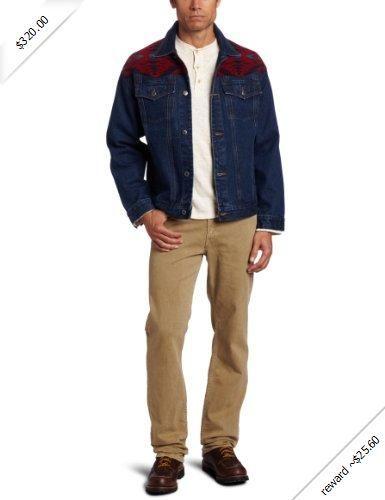 Pendleton Men S Denim Jacket With Red Diamond Desert Yoke Red
