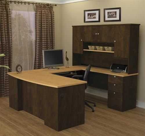 Manhattan Collection Chocolate Maple U Shaped Desk And Hutch In 2018