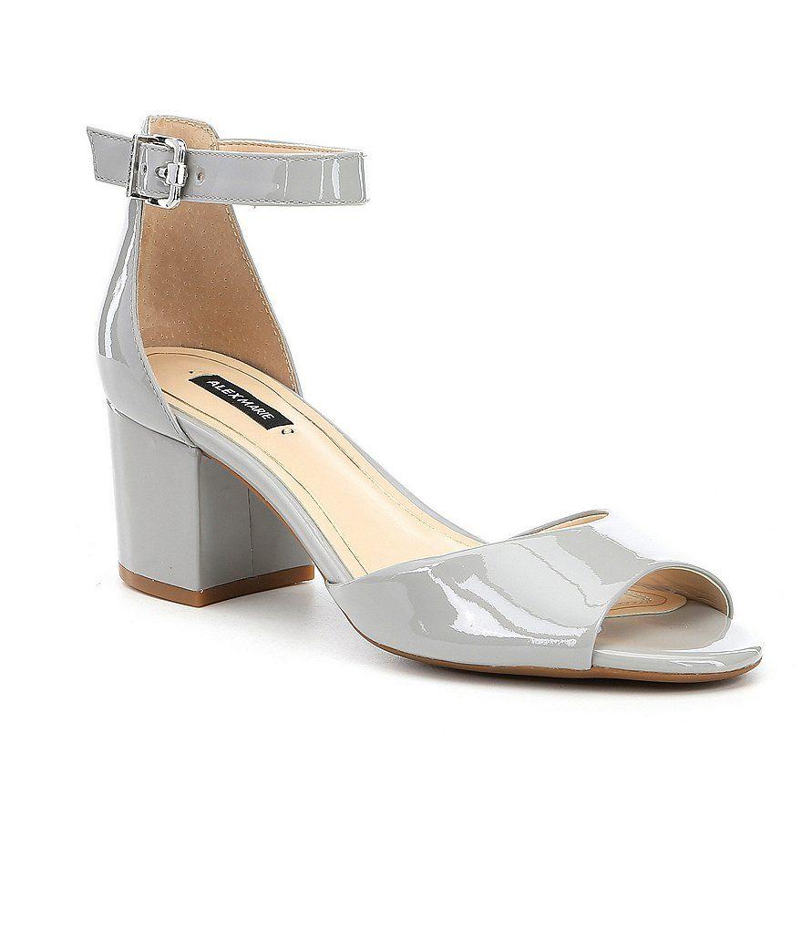 f6ed50aa698 Alex Marie Opel Patent Leather Ankle Strap Peep Toe Block Heel Pumps ...