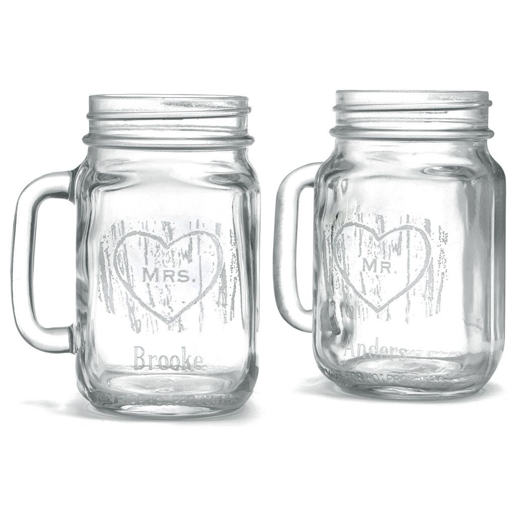 Personalized Mason Jar Woodgrain Glasses (Set of 2) | Personalized ...