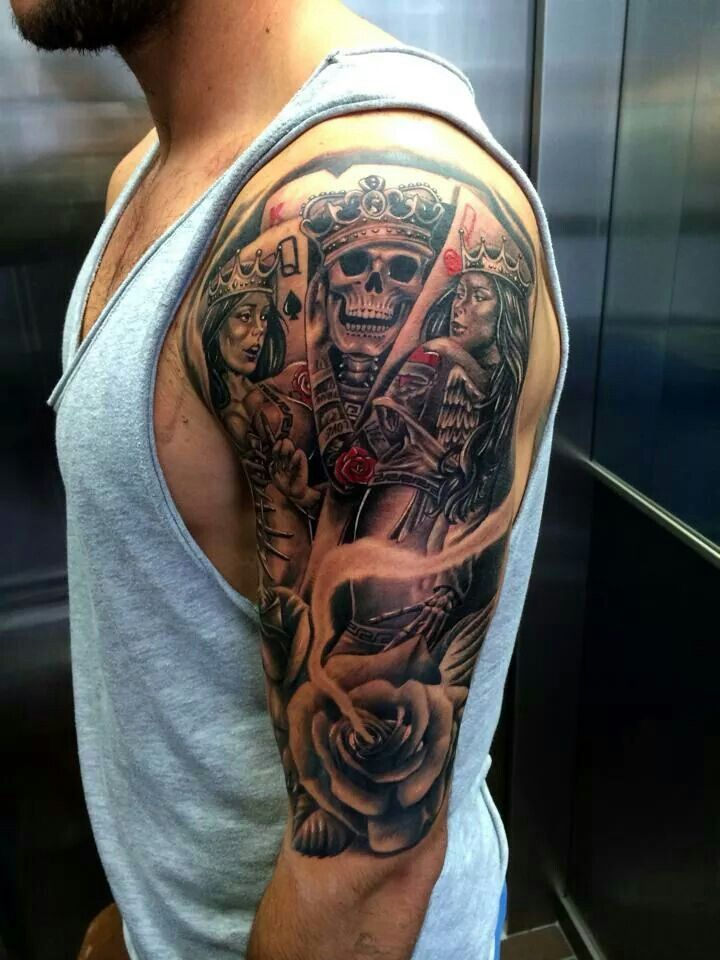 220322270d543 King/Queen cards-half sleeve | Tattoo ideas | Sleeve tattoos, Full ...