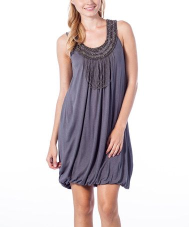 Look what I found on #zulily! Charcoal Embellished Yoke Bubble Dress #zulilyfinds