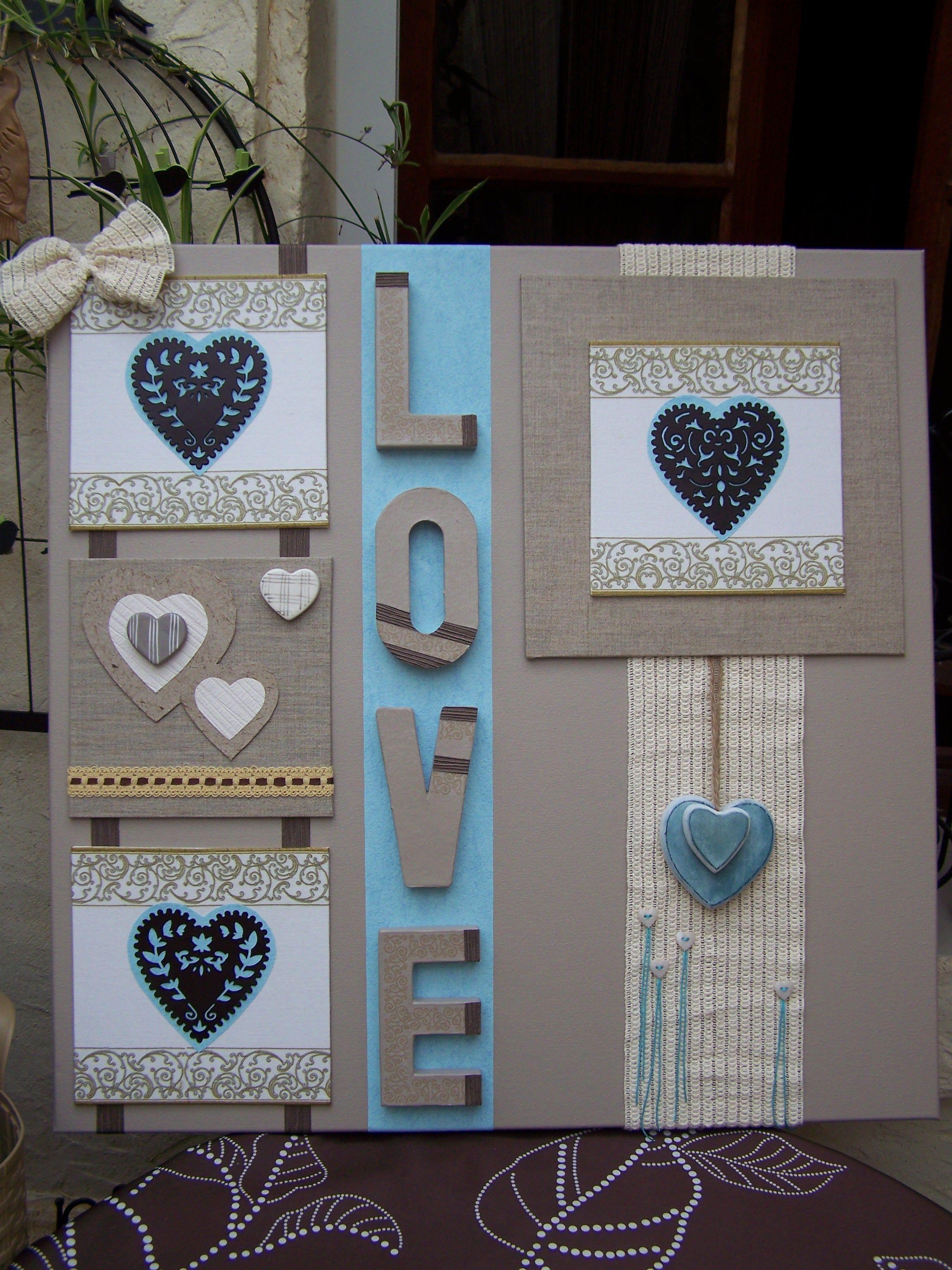 toile sur chassis th me coeur peinture acrylique serviettage sur toiles collages papiers. Black Bedroom Furniture Sets. Home Design Ideas