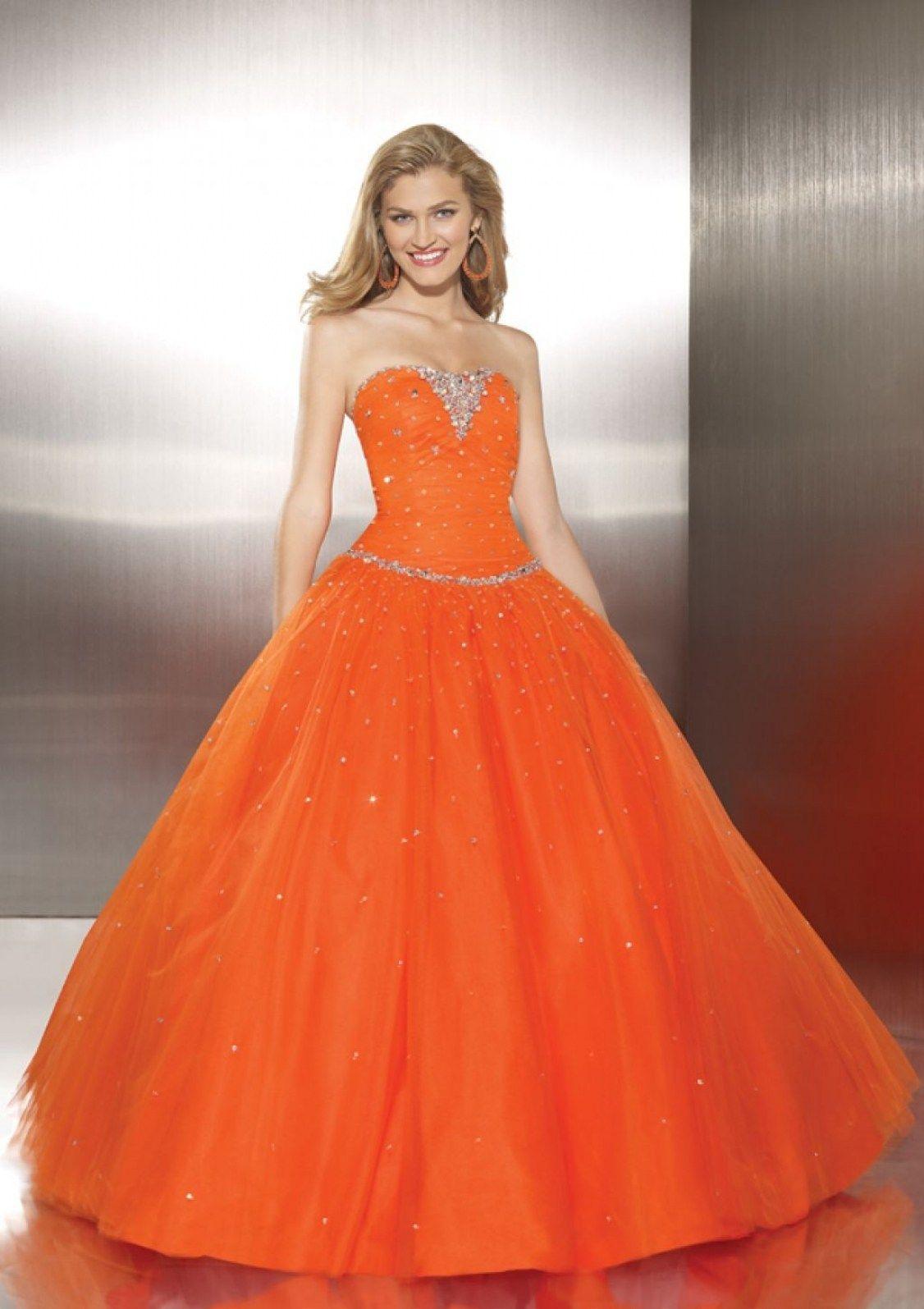 30 Beautiful White And Orange Wedding Dress | Orange wedding dresses ...